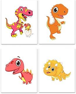 Dinosaurs Nursery Decor, Set of Four 8 x10 inch Unframed Art Prints - Great for Baby Room Wall Decor