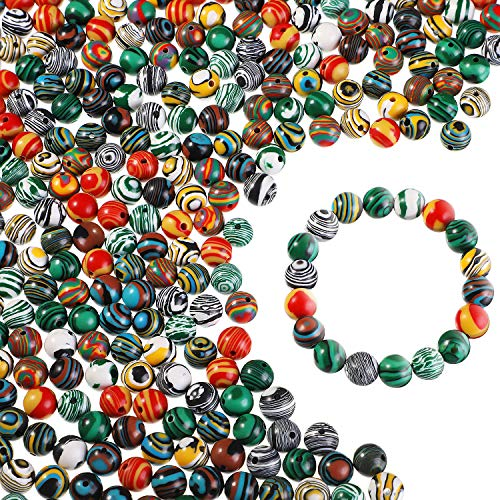 400 Pieces Marble Glass Beads 8 mm Round Bracelet Beads Decorative Glass Craft Glass Beads for Bracelets Necklaces DIY Craft Jewelry Making, 8 Styles