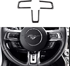 TopDall Carbon Fiber Steering Wheel 3D Sticker Cover Trim Button Control Panel Decorative For Ford Mustang 2016-2019