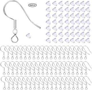 100 PCS/50 Pairs 925 Sterling Silver Earring Hooks Fish Hook Ear Wires French Wire Hooks Hypo-allergenic Jewelry Findings Earring Parts DIY Making With 100 PCS Clear Rubber Earring Safety Backs