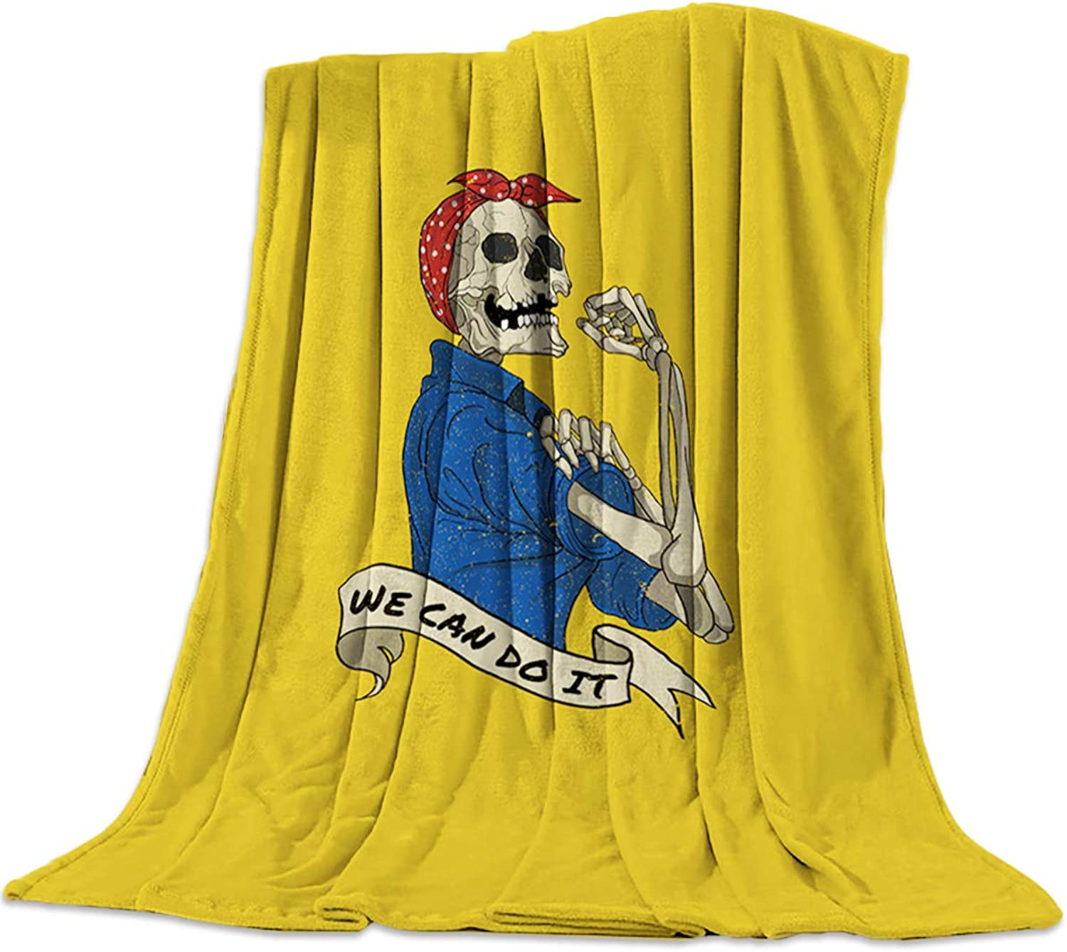 Skulls Flannel Throw Blanket Skull Girl We Can Do It Yellow Background Printed Warm Plush Lightweight Couch Bed Blanket All Season Use, 50x80 inch