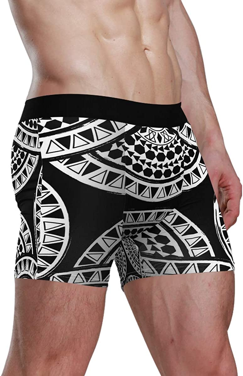 HangWang Men's Underwear Circle Bohomia Black White Breathable Boxer Briefs Low Rise Long Leg