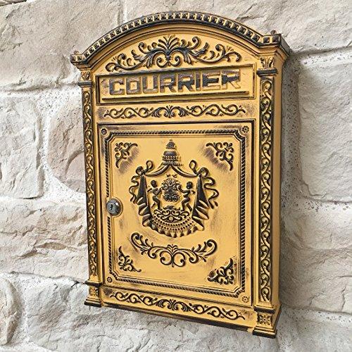 Briefkasten, Antik, Gelb, Postkasten, Gusseisen, 45 cm