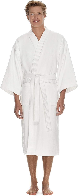 Men's Terry Cloth Bathrobe by Boca Terry, Cotton Spa Robes, Plush White Hotel Bath Robe, M/L & 2X