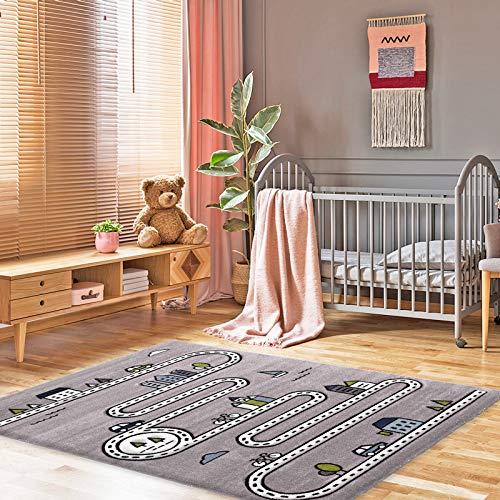 onloom - Alfombra Infantil, diseño de Calle Indio, Gris, 120 x 170 cm