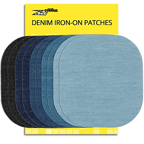 "ZEFFFKA Premium Quality Denim Iron on Jean Patches No-Sew Shades of Blue Black 10 Pieces Assorted Cotton Jeans Repair Kit 4-1/4"" by 3-3/4"