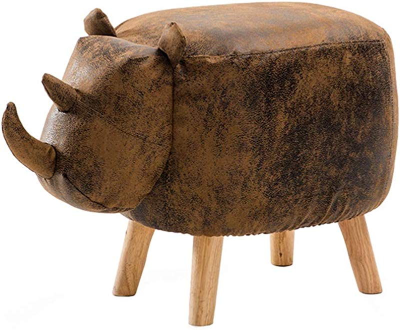 Children S Stool Solid Wood Footstool Upholstered Ottoman Pouffe Footrest Sofa Rhinoceros Change Shoes Bench Brown
