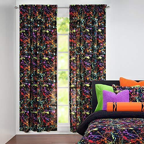 Crayola Neon Splat 84 Inch Paint drip Rod Pocket Single Curtain Panel