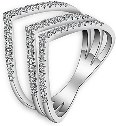 Everrich Women Engagement Rings Platinum Plated Diamond Double Heart Shape Infinity Wedding Promise Knot Rings for Brides