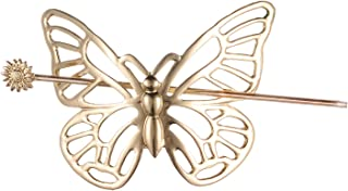 Lux Accessories Gold Tone Butterfly Hair Barrette Hair Stick Brass Hair Clip