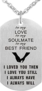 CraDiabh to My Love Wife Husband Soulmate Bestfriend Dog Tag Necklace Stainless Steel Military Dogtags Necklaces