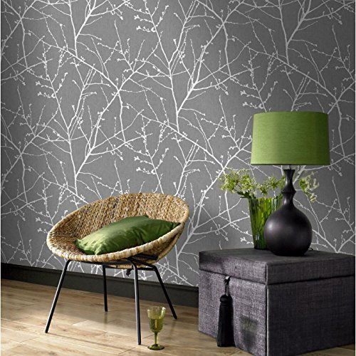 Superfresco Easy Paste The Wall Innocence Grey/Silver Metallic Wallpap