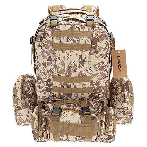 Lixada Multifunktions Militärischen taktischer Rucksack mit MOLLE Gurte Rucksack Sport Camping Reisen Wandern Tasche (Tarnfarbe 4)