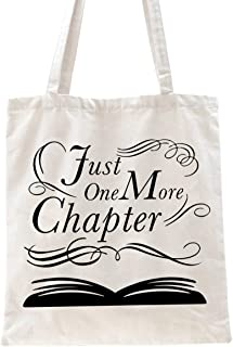 Ihopes Just One More Chapter Reusable Tote Bag   Funny Bookworm Library Cotton Canvas Tote Bag School Bag Book Lovers Gift...