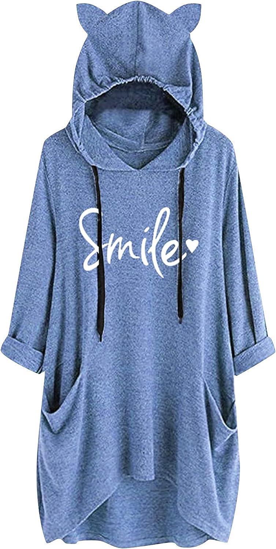 Women's Long Sleeve Hoodies with Sayings Teens Girls Cute Cat Ears Sweatshirt Pullover Pockets Oversized Tunic Tops