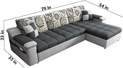 Furny Carlito Fabric 4 Seater RHS L Shape Sofa Set (Light Grey-Dark Grey)