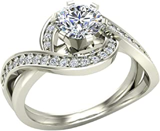 1.00 carat Intertwined Diamond Engagement Ring Twisted Shank 14K Gold Setting - GIA Certificate