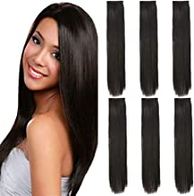 6 Pcs 24 inch Clip in Black straight Hair Extensions Full Head Clip Synthetic Hair Extensions Long Hairpieces for Women