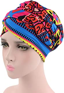 DongDong♫Women's Stylish Vintage Printed Muslim Elastic Turban Print Long Tail Hat Head Scarf India Wrap