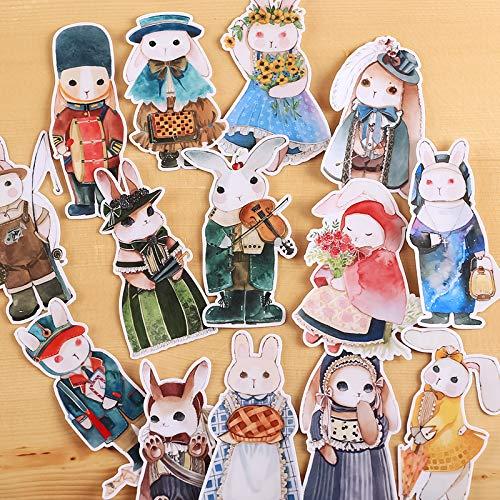 WYDML Dos Pegatinas híbridas de Libro de Mano de Conejo Victoriano, decoración de Libro de Mano para teléfono móvil, patrón pequeño, Bonito corazón de niña, 30 Piezas