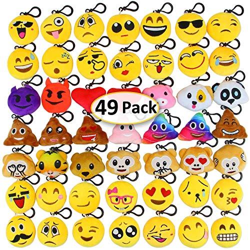 Aiduy Schlüsselanhänger, 5,1 cm gefüllt, niedliches Plüschkissen Emoji-Schlüsselanhänger, für Kinder-Partys, Geschenktüten, Dekoration, Gelb