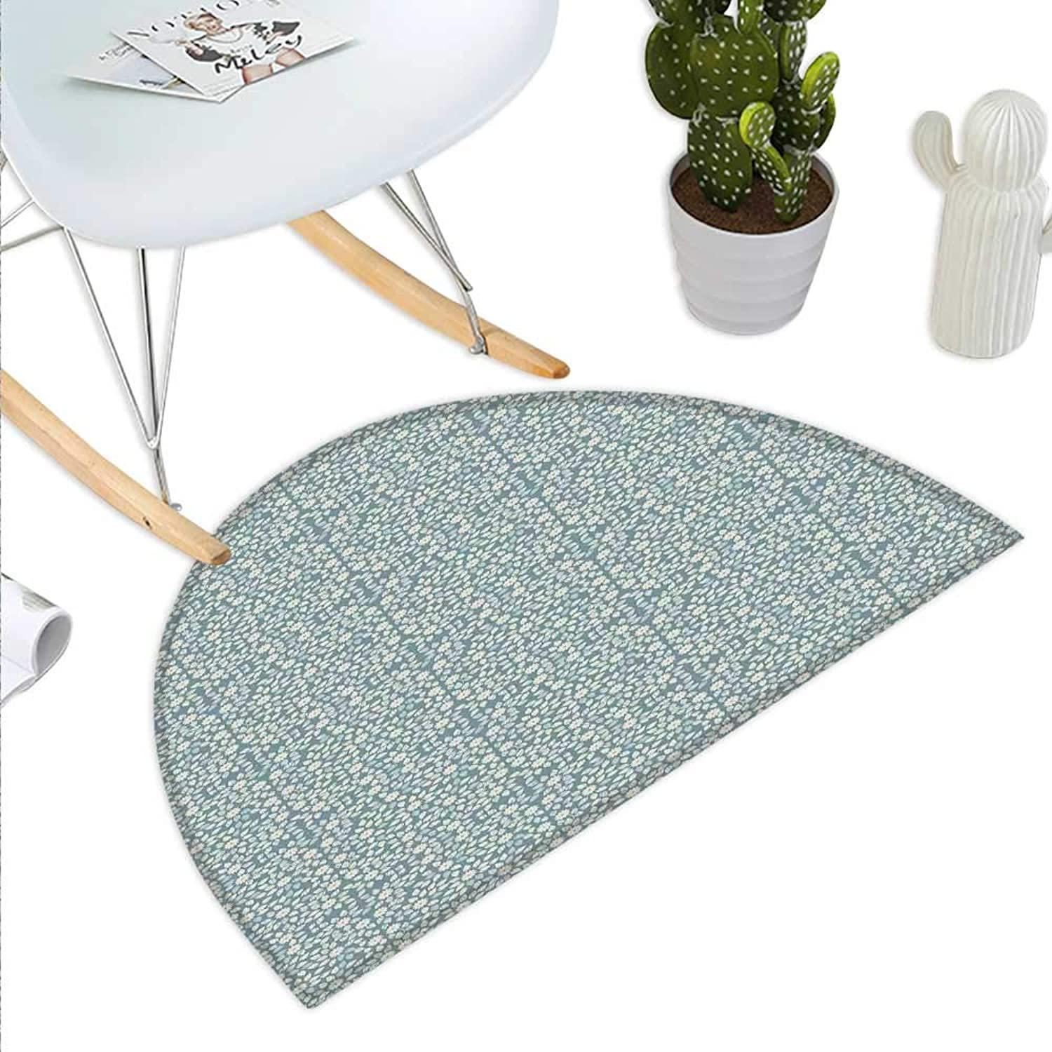 Ivory and bluee Semicircle Doormat Blooming Petals Leaves Silhouette of Abstract Flowers Nature Growth Halfmoon doormats H 27.5  xD 41.3  Ivory Slate bluee