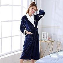 Dames Badjas,Badjassen Dames Dikker Warme Flanel Robe Winter Long Sleeve Badjas Sexy V-Neck Dames Nightgown Lounge Slaapkl...