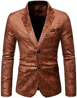 Men's Peak Lapel Two Buttons Floral Blazer Slim Fit Prom Party Jacket Dinner Coat