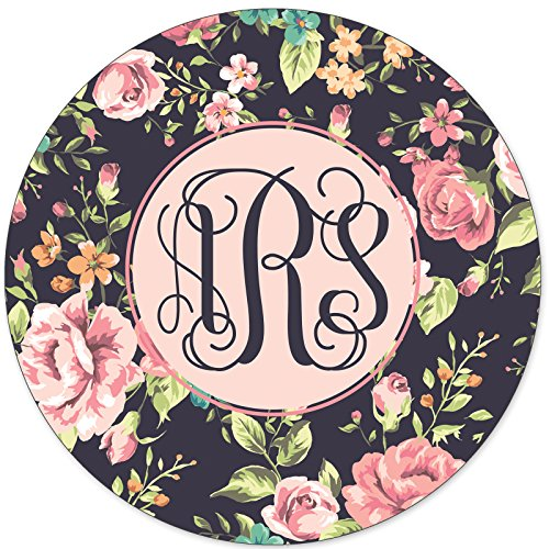 Custom Mouse Pads, Personalized Mouse Pads, Pretty Floral Vintage Roses Monogram Monogrammed MPP