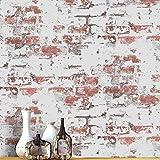 Rollo de papel pintado de ladrillo rojo oxidado, 3D, vintage, imitación de ladrillo, para dormitorio, sala de estar, cafetería, bar, decoración de pared 99,9 cm x 50,8 cm