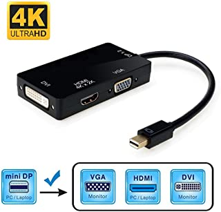 Mini Displayport HDMI VGA DVI 変換 アダプター 3in1 変換 ケーブル 4K 60HZ 3種類の出力 Macbook/Macbook Pro/iMac/Macbook Air/Mac Mini/Microsoft...