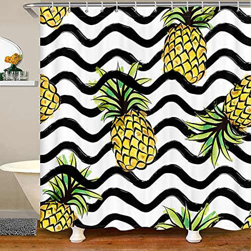 Cortina de ducha de piña para niños y niñas, adolescentes, diseño de frutas tropicales con ganchos, estilo granja, cortina de baño de poliéster a rayas, 72 x 72 l