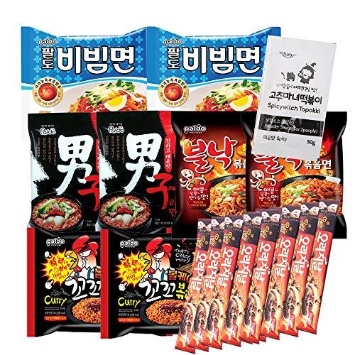 Korean Hit K-Foods Noodle Ramen Variety Pack w/ Tteokbokki Sauce & Instant Coffee Mix Box, Bibimmen, Namja Ramen, Volcano Chicken, Hot Octopus Stir Fried Noodle, Pack of 19