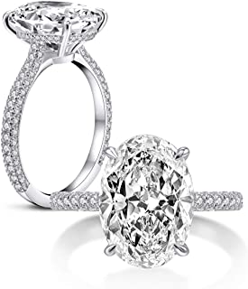 925 Sterling Silver Women Wedding Rings 5 Carat Oval Cut Cubic Zirconia Engagement Ring