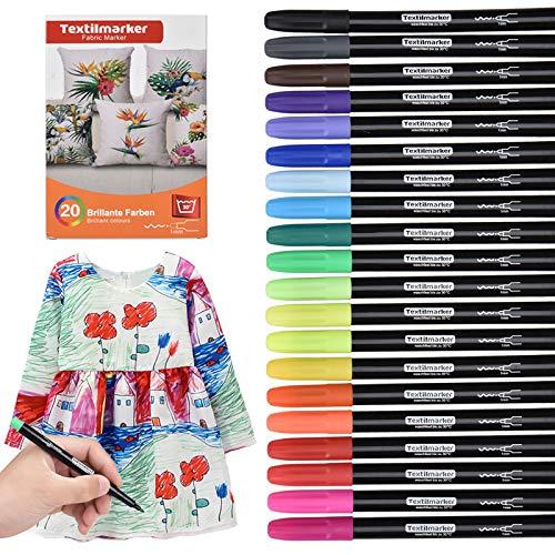 Waschmaschinenfeste Textilmarker, 20 Wasserfeste Textilstifte in leuchtenden Farben, Nicht Giftige Permanent Marker, für Textilien Schuhe T-Shirts Taschen Stoffbeutel und Verschiedene Stoffarten