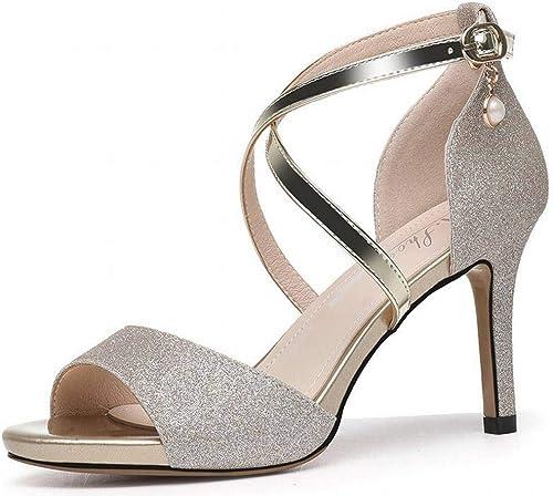 LTN Ltd - sandals Petit Parfum Sandales à Talons Hauts Femme Fée été Stiletto Chaussures Populaires Chaussures D'été Chaussures D'été, Or, 39