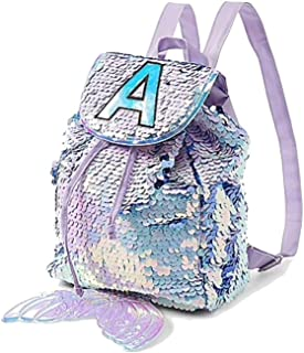 Justice Mini Small Backpack Rucksack Flip Sequin Lilac Mermaid Initial (Letter S)