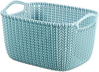 CURVER 226392 Panière de Rangement rectangulaire 8L Tricot, Plastique, Bleu/Gris, 29x21,7x17,2 cm
