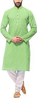 Himashu Handlooms Men's Cotton Long Kurta (Green)