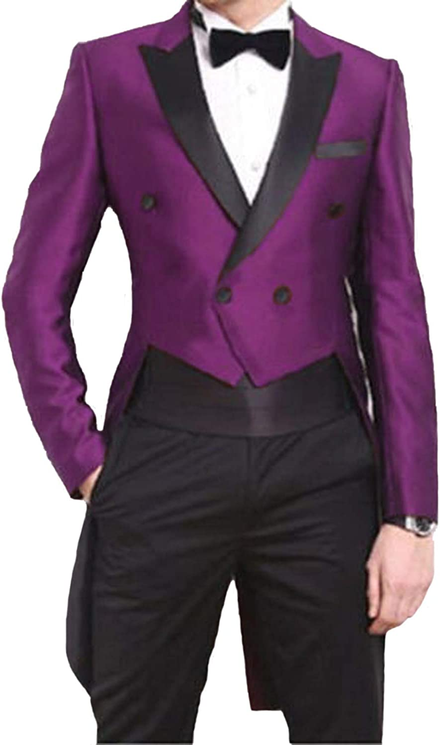Everbeauty Groom Wedding Suits Mens Tailcoat Slim Fit Wedding Blazer Formal Dinner Jacket Tux with Tails EXZ047