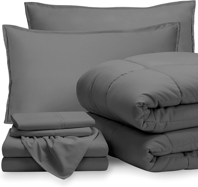 Bare Home Bedding Set 7 Piece Comforter & Sheet Set - California King - Goose Down Alternative - Ultra-Soft 1800 Premium Bed Set (Cal King, Grey/Grey)