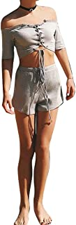 FSSE Womens Off Shoulder Ribbed Lace Up Crop Top & Beach Drawstring Shorts Outfits