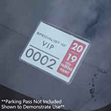 2 Pack - Parking Permit Holder for Car Windshield - Clear Adhesive Parking Tag Pouch - Vinyl Plastic Document Protector Holds Large Parking Placard, Pass, Decal or Sticker (4 x 3) by Specialist ID