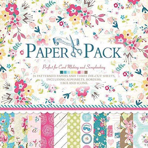 IDULL Floral Scrapbook Paper 12x12 Cardstock (Green Flower)
