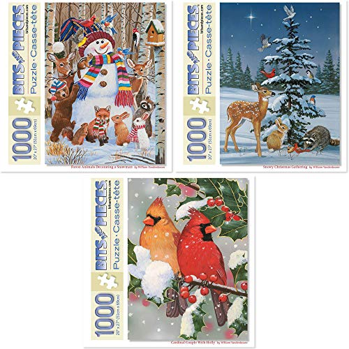 """Bits and Pieces - Value Set of Three (3) 1000 Piece Jigsaw Puzzles for Adults - Each Puzzle Measures 20"""" X 27"""" - Animal Christmas Winter Celebration Jigsaws by Artist William Vanderdasson"""
