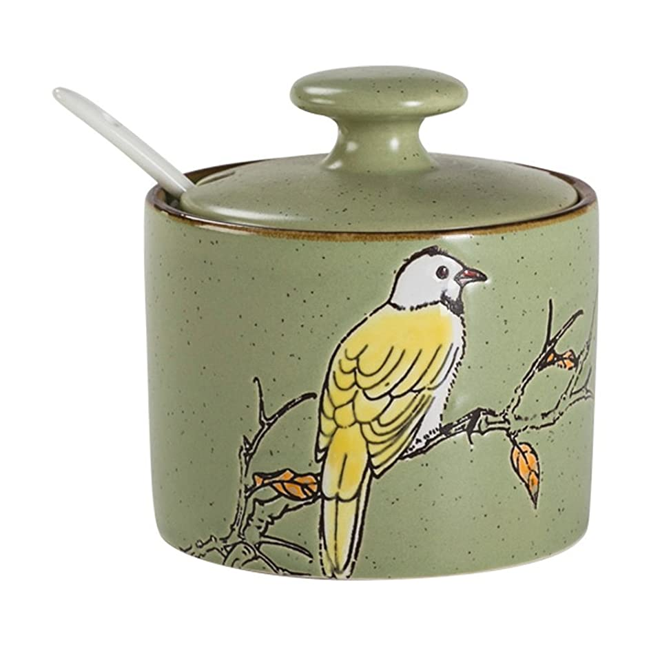Ceramics Retro Bird Sugar Bowl with Lid and Spoon Green