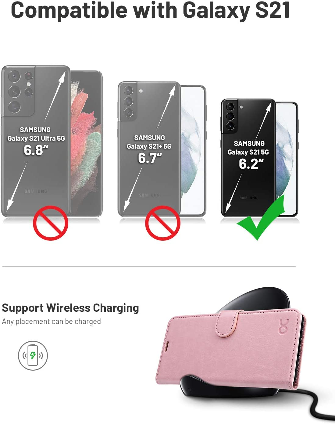Phone Cover 6.2 Inch OCASE Compatible with Galaxy S21 5G Wallet Case 2021 - Black PU Leather Flip Folio Case with Card Holders RFID Blocking Kickstand Shockproof TPU Inner Shell