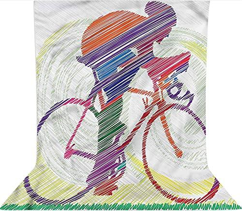 Fondo de fotografía de 3 x 5 pies, telón de fondo de tela de microfibra para hombre en bicicleta, con bolsillo para barra (solo telón de fondo) para fotografía, fotomatón de fondo