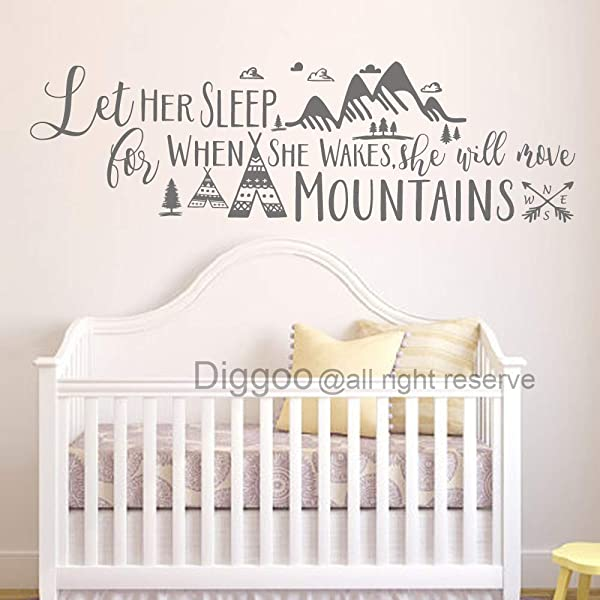 Diggoo Tribal Mountains Wall Decal Let Her Sleep For When She Wakes She Will Move Mountains Quote Tribal Arrow Girls Nursery Decor Gray 12 H X 40 W