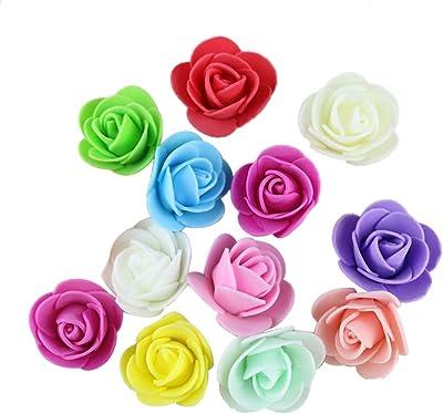 attrasfjwanrw 50Pcs Mini Foam Roses Artificial Flower, Wedding Bride Bouquet Party Decor, 3.5cm Mixed Color